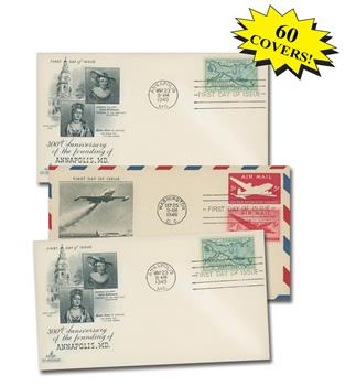 1940s First Day Covers, Collection of 60