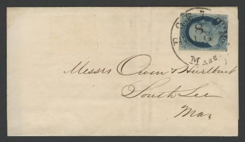 1852 1c Franklin Type IV Single (Scott #9) on 1857 Folded Circular