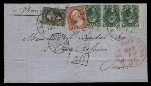 1851-57 3c, 10c, 12c Issues on 1857 Folded Cover to France