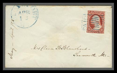 1856 3c Washington (Scott #11) on Cover, brownish carmine with 'PAID' grid cancel
