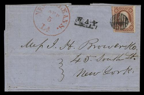 1851 3c Washington single (Scott #11) on folded letter from Louisiana to New York, dull red with black 'WAY' hand stamp