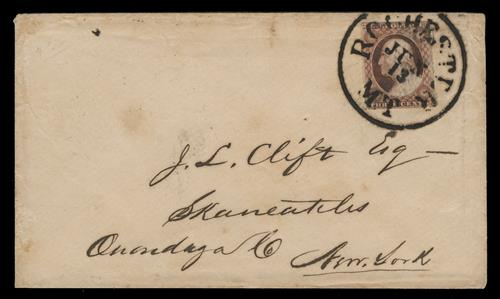 1855 3c Washington single (Scott #11) on cover from Minnesota Territory, dull red