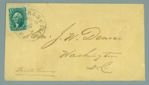 1857 10c Type II Single (Scott #32) Used On Cover -- Earliest Known Usage From California