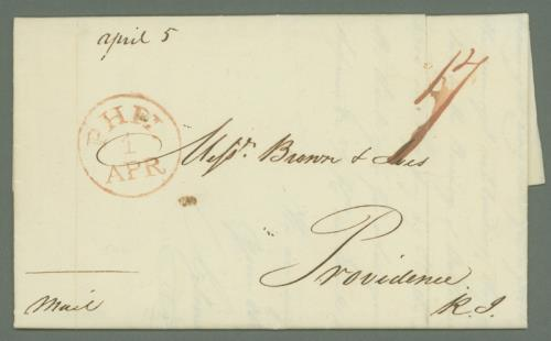 1816 Stampless Folded Letter Sent on First Day of Restored Rates