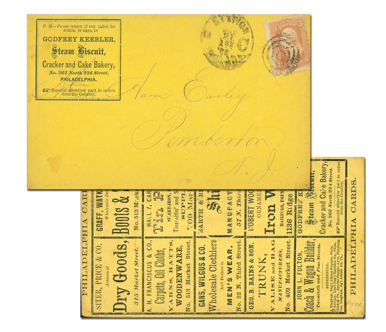 1867 3c Washington, red (Scott #94) on Billboard post card for Godfrey Keebler Steam Biscuit Cracker and Cake Bakery