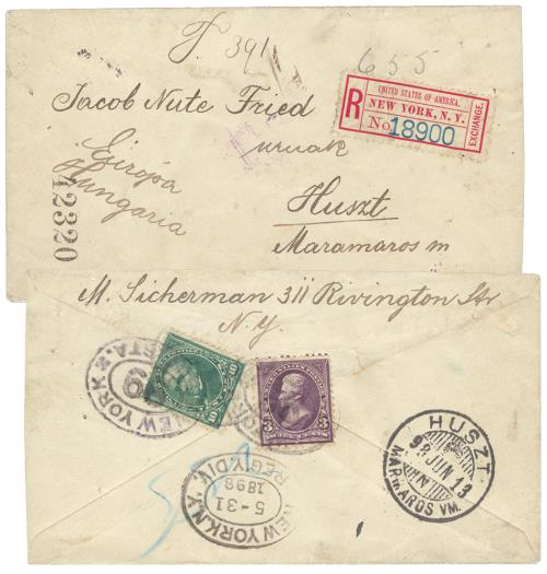 1895 1st Bureau Issues 3c & 10c Stamps Used on Registered Cover to Hungary