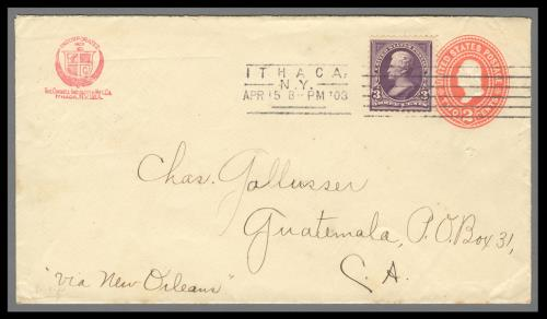 1895 3c Jackson (Scott #268) on 2c Entire Sent from Ithaca, New York to Guatemala