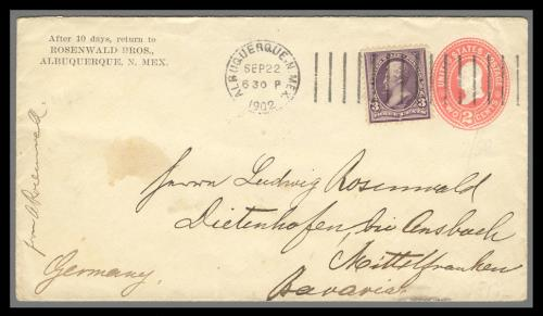 1895 3c Jackson (Scott #268) on 2c Entire Sent from New Mexico Territory to Germany