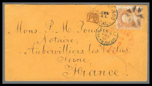 1868 30c Franklin Split Grill Variety Single Used on Cover to France