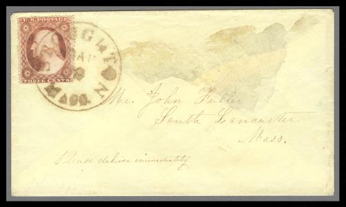1857 3c Washington Type III Single (Scott #26) Tied on Cover by Brown CDS Cancel