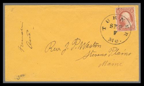 1857 3c Washington Type III Single (Scott #26) on Cover from Turner, Maine