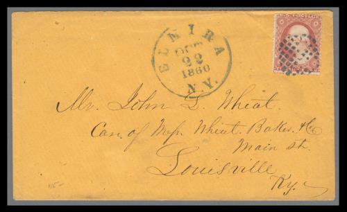 1857 3c Washington Type III Single Tied on 1860 Cover by Fancy Cancel