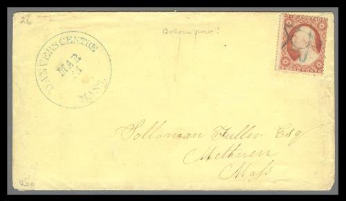 1857 3c Washington Type III Single (Scott #26) Used on Cover by 5-Point Star Fancy Cancel