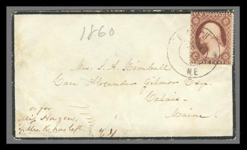 1857 3c Washington Type III Single (Scott #26) on Mourning Cover from Bath, Maine