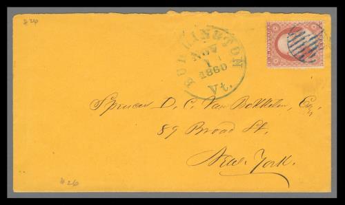 1857 3c Washington Type III Single (Scott #26) on Cover from Burlington, VT
