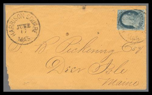 1852 1c Franklin Type IV Single (Scott #9) on Circular Cover from Harrison Square, MA