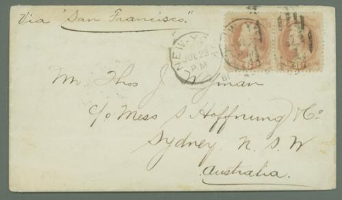1879 6c Lincoln Horizontal Pair (#186) on Cover to Sydney, Australia