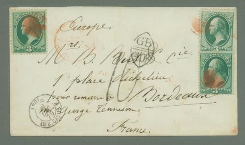 1870 3c Green Washington H Grills (#136) on Cover to Bordeaux, France
