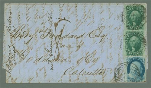1859 10c Washingtons (#35) and 1c Franklin (#24) on Folded Letter to Calcutta, India