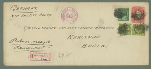 1908 1c Franklin (#331) and two 8c Washingtons (#337) on Cover to Karlsruhe, Baden