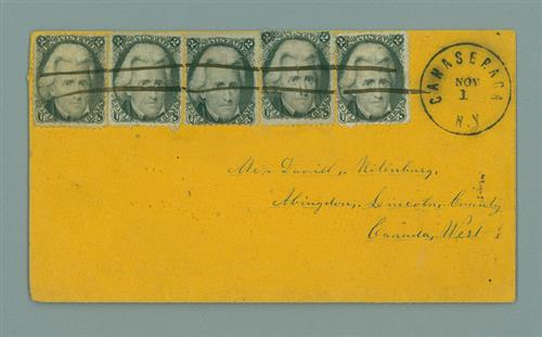 1864 cover from Canaseraga NY to Canada franked with 5 2c Jackson stamps (#73)