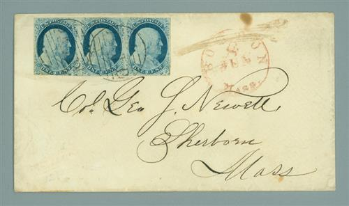 1852 1c Franklin Strip of 3 (#9) on cover to Sherborn, MA