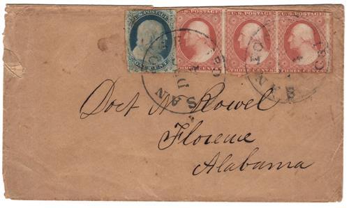 1851 3c Orange Brown Washington (#10A) on Cover to Florence, AL
