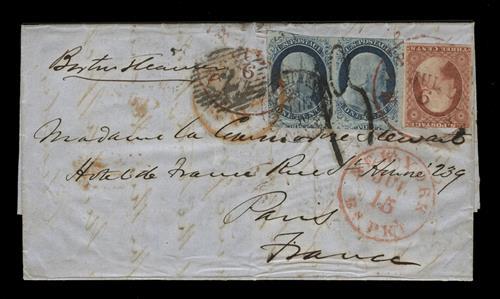 1856 Folded Letter to France Bearing 1c Franklin Pair (Scott #9) & 3c Washington Single