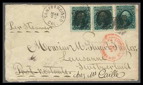 1861 10c Washington Issue (Scott #68) on cover from San Francisco to Switzerland