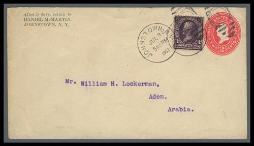 1st Bureau Issue 3c Jackson single (Scott #268) on 2c Entire Cover to Aden, Arabia