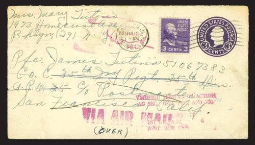 1951 Cover & Letter from a Mother to Her MIA Son in The Korean War (1938 3c Jefferson - Scott #807)