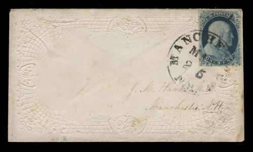 1852 1c Franklin Type IV Single (Scott #9) on Manchester, NH, Drop Cover