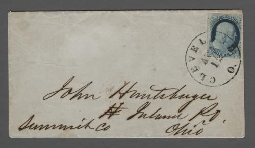 1852 1c Franklin Type IV Single (Scott #9) on Illustrated Printed Circular from Cleveland