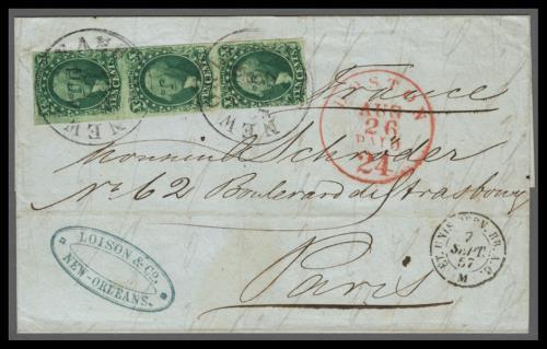 1855 10c Washington Type II-III Combination Strip on 1857 Cover to France
