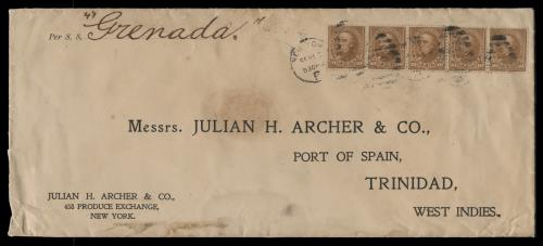 1899 10c Webster Strip of Five on Cover to Port of Spain, Trinidad