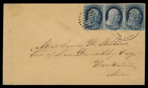 1851-57 1c Franklin Type IV (Scott #9) Special Plate Position Singles on Cover