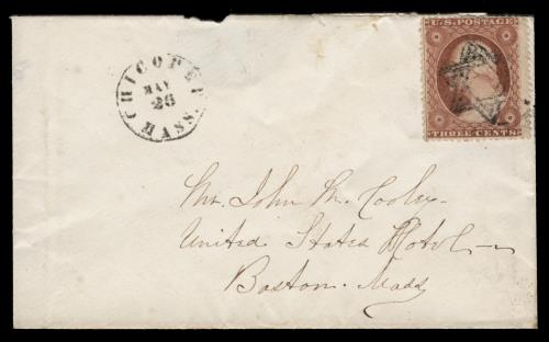 1857 3c Washington Type III (Scott #26) Used on Cover by Star of David Cancel