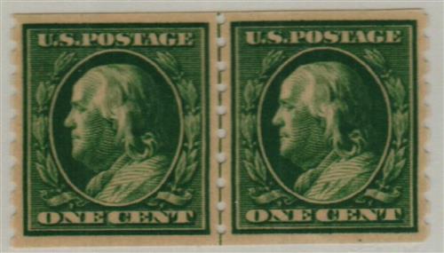 1910 1c Franklin, green, perf 8.5 vertical