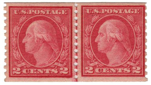 1916 2c Washington, carmine, vertical perf 10, type II