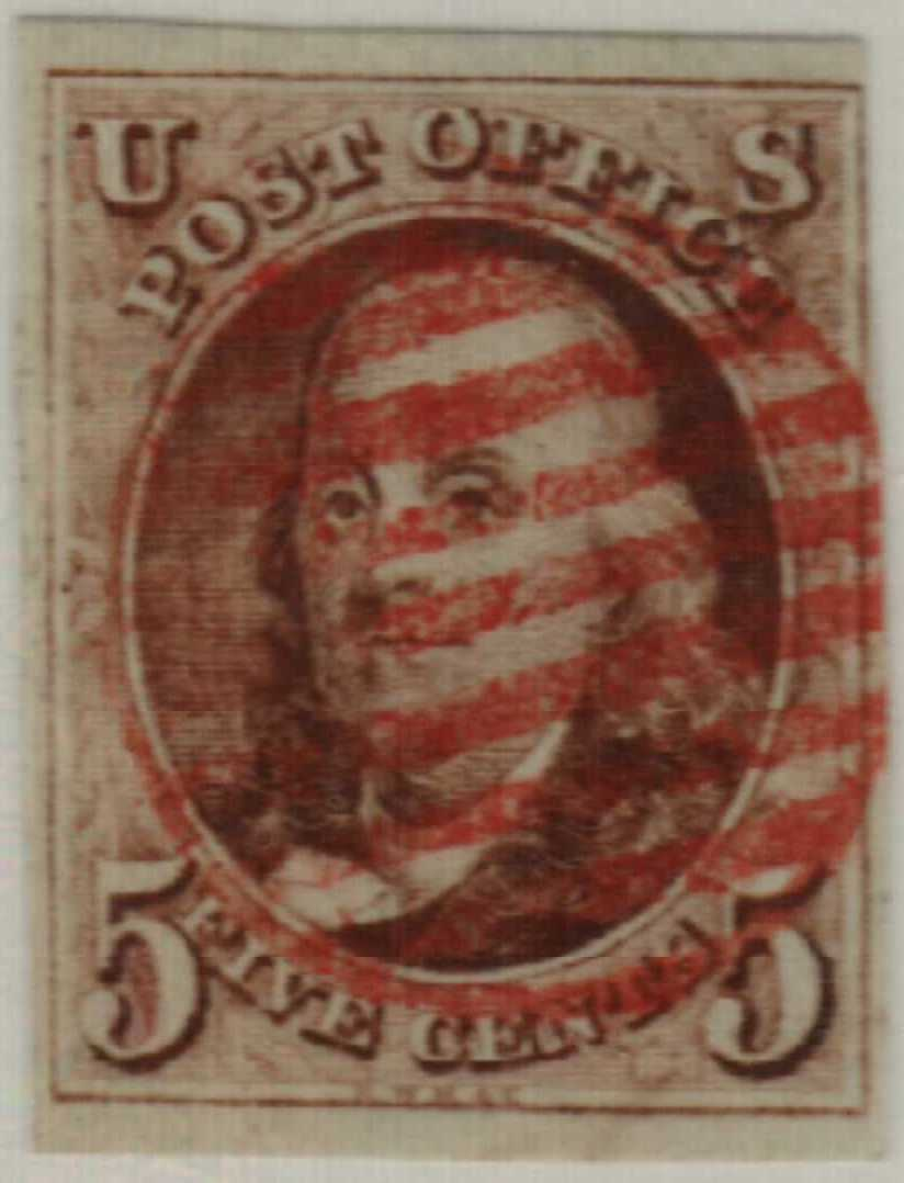 1847 5c Benjamin Franklin, red-brown, thin bluish wove paper, imperforate