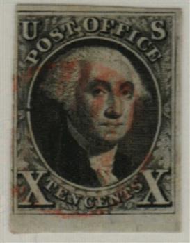 1847 10c Washington, black, imperforate