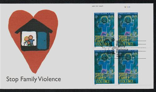 2003 Semipostal - Stop Family Violence Fleetwood Plate Block First Day Cover