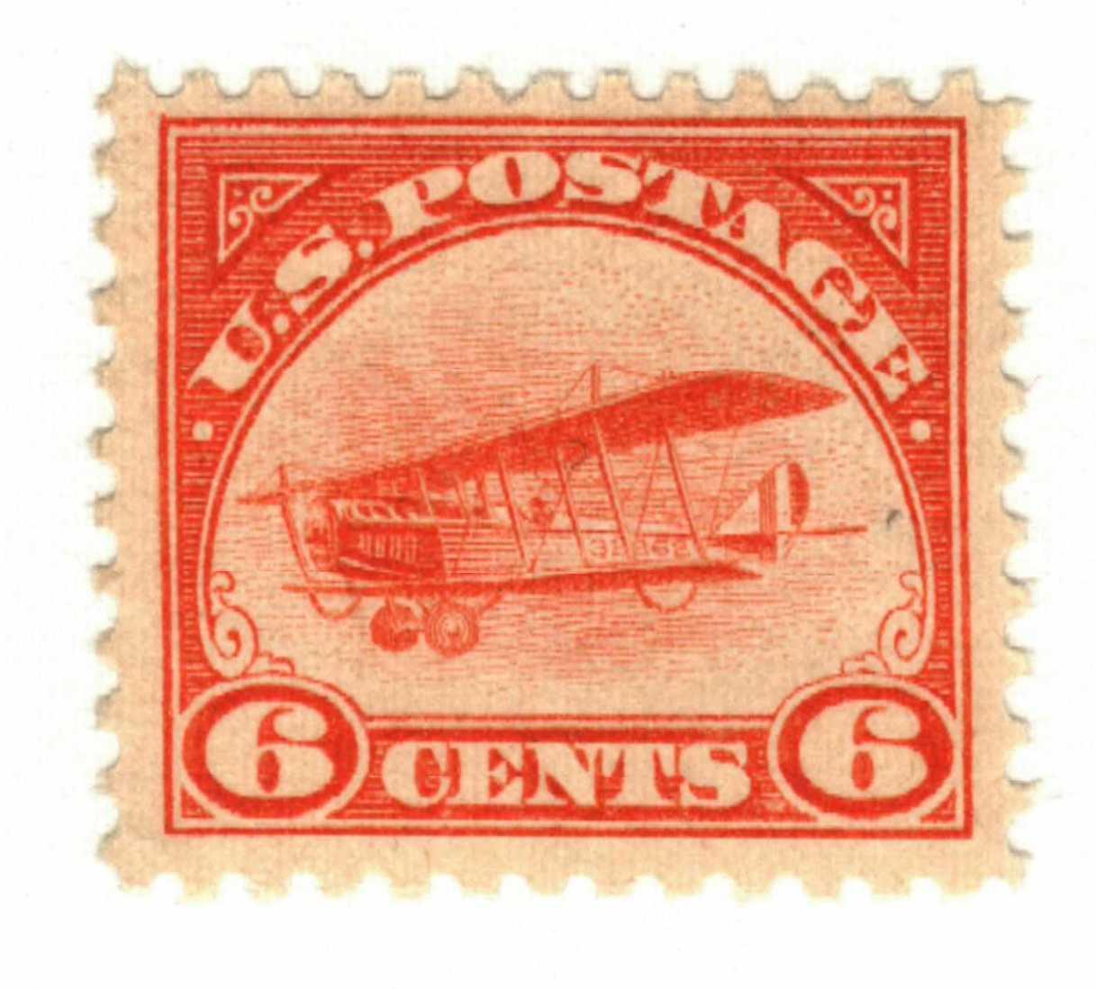 1918 6c Curtiss Jenny, orange