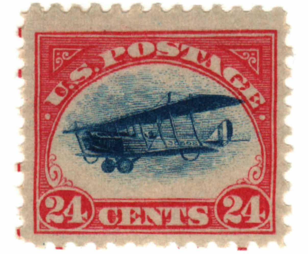 1918 24c Curtiss Jenny, carmine rose & blue