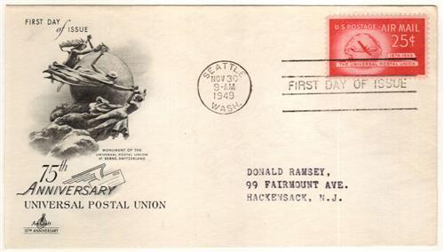 1949 25c Plane & Globe