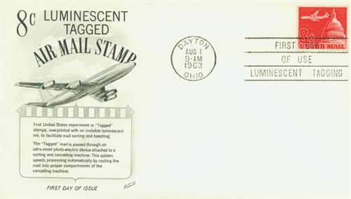 1963 8c Plane & Capitol,carmine,tagged
