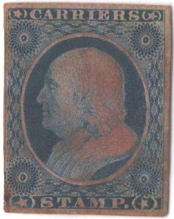 1851 1c Carrier Stamp - Benjamin Franklin, dull blue, imperforate