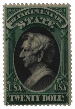 1873 $20 grn, blk, state, hard paper