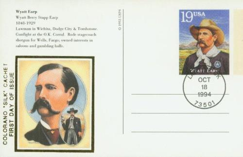 U.S. #UX187 – Earp First Day Postal Card.
