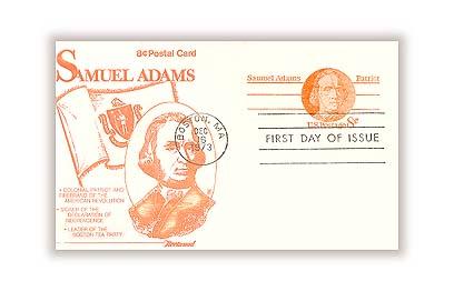 U.S. #UX66 – Samuel Adams First Day Postal Card.